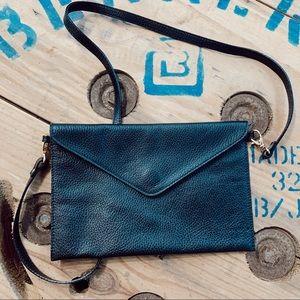 Black Leather Envelope Crossbody